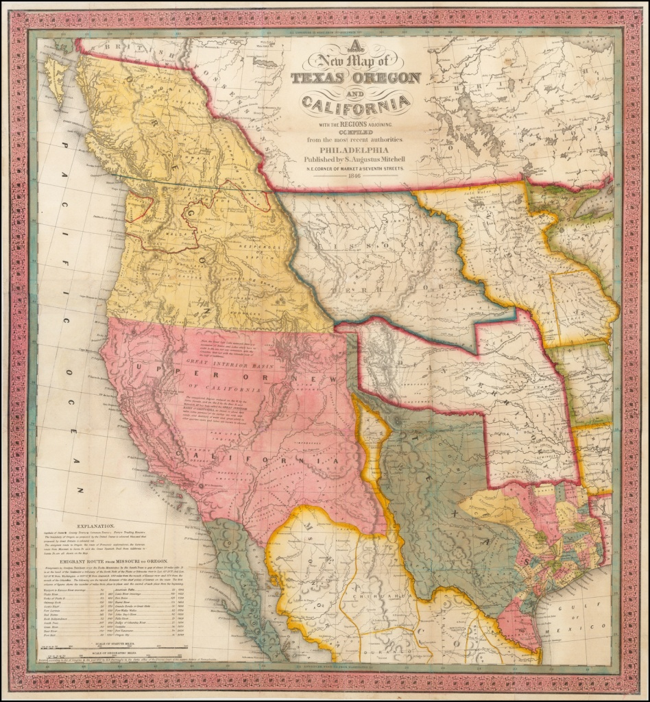 A New Map Of Texas, Oregon And California With The Regions Adjoining - Map Of Oregon And California