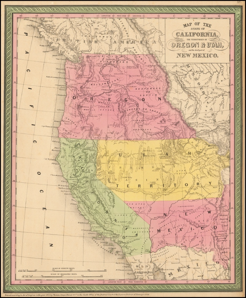 A New Map Of The State Of California, The Territories Of Oregon - California Territory Map