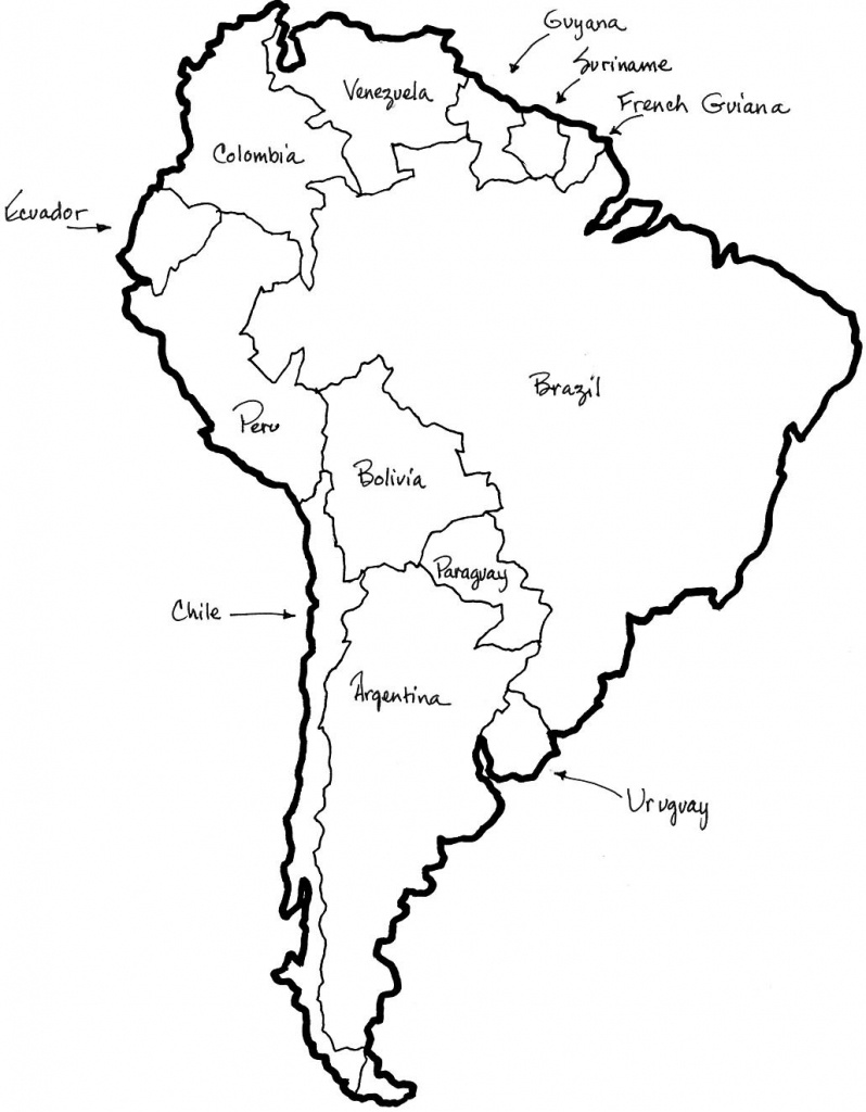 A Printable Map Of South America Labeled With The Names Each Outline - Printable Map Of South America With Countries