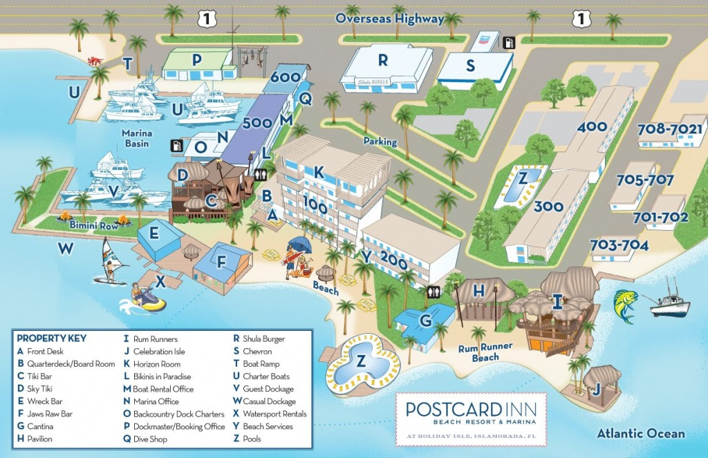 A Property Map Of The Postcard Inn Holiday Isle Resort & Marina That - Map Of Hotels In Key West Florida