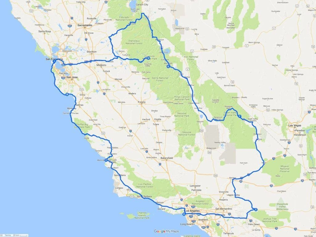 A Two Week California Road Trip Itinerary - Finding The Universe - California Road Trip Map