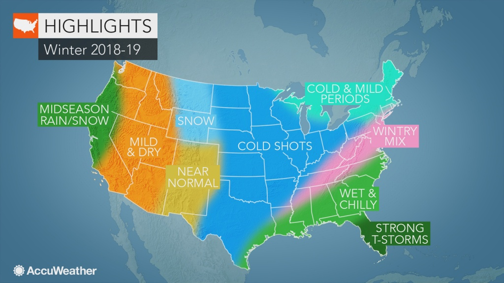 Accuweather's Us Winter Forecast For 2018-2019 Season - Florida Weather Map With Temperatures