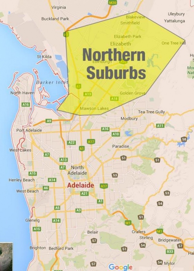 Adelaide Northern Suburbs Map - Northern Suburbs Adelaide Map (South - Printable Map Of Adelaide Suburbs