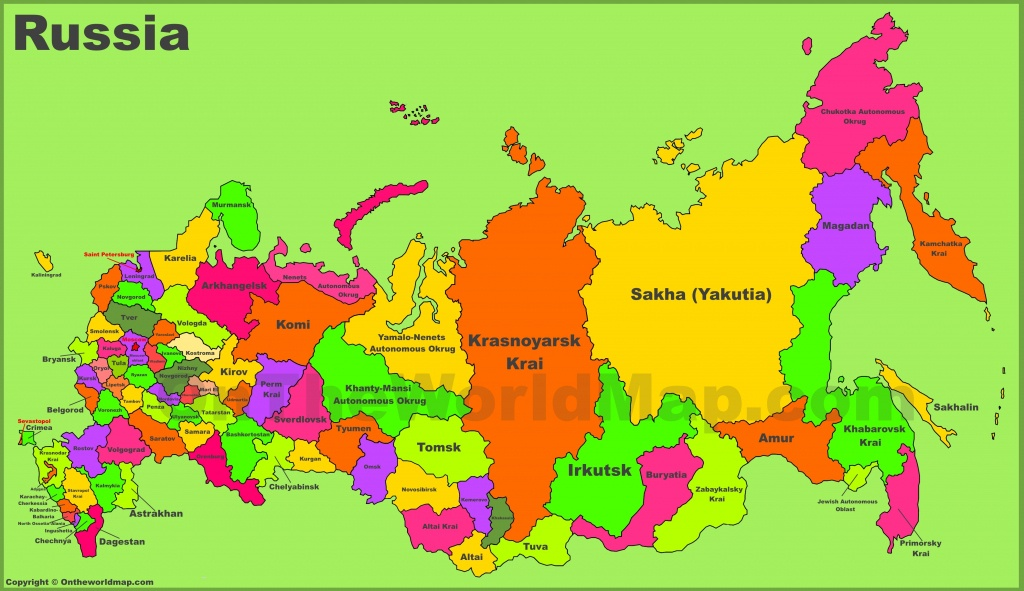 Administrative Divisions Map Of Russia - Free Printable Map Of Russia