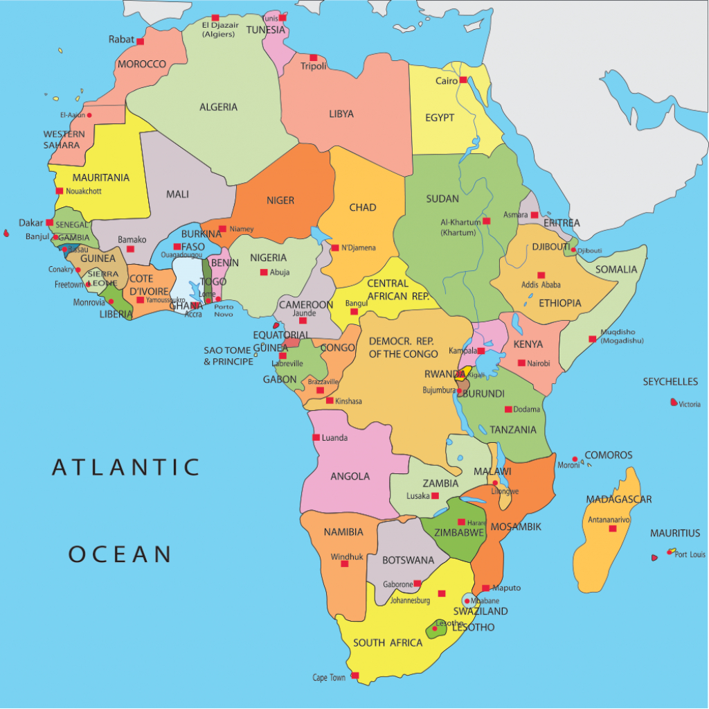 Africa Map Countries And Capitals - Google Search | When The - Printable Map Of Africa With Countries And Capitals