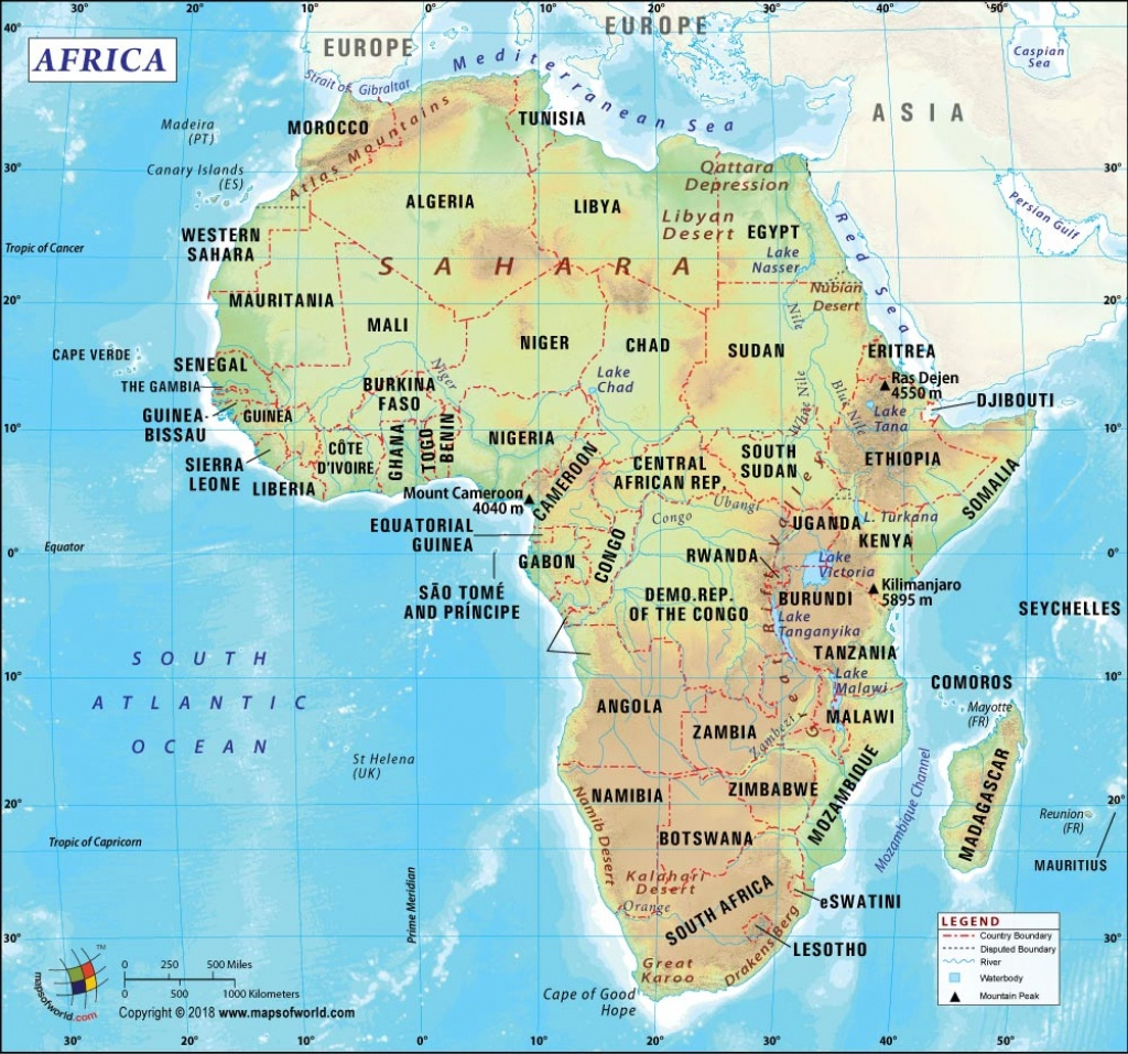 Africa Map, Map Of Africa, History And Popular Attraction In Africa - Printable Map Of Africa With Countries And Capitals