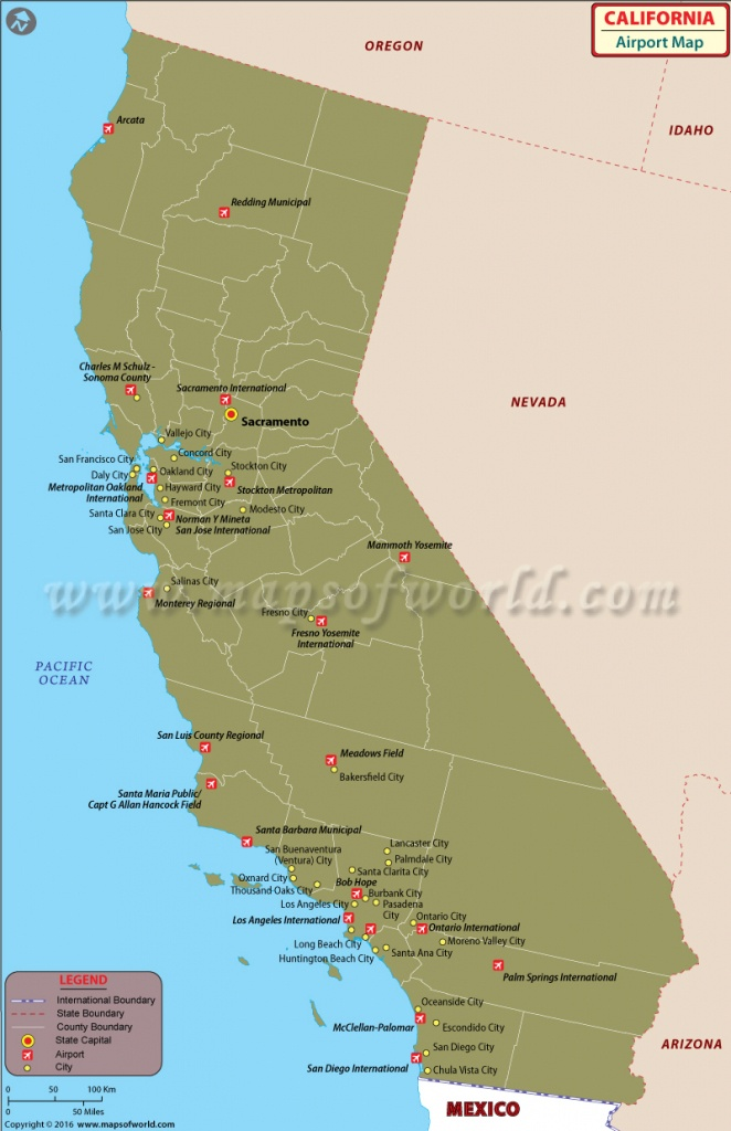 Airports In California | List Of Airports In California - California Destinations Map