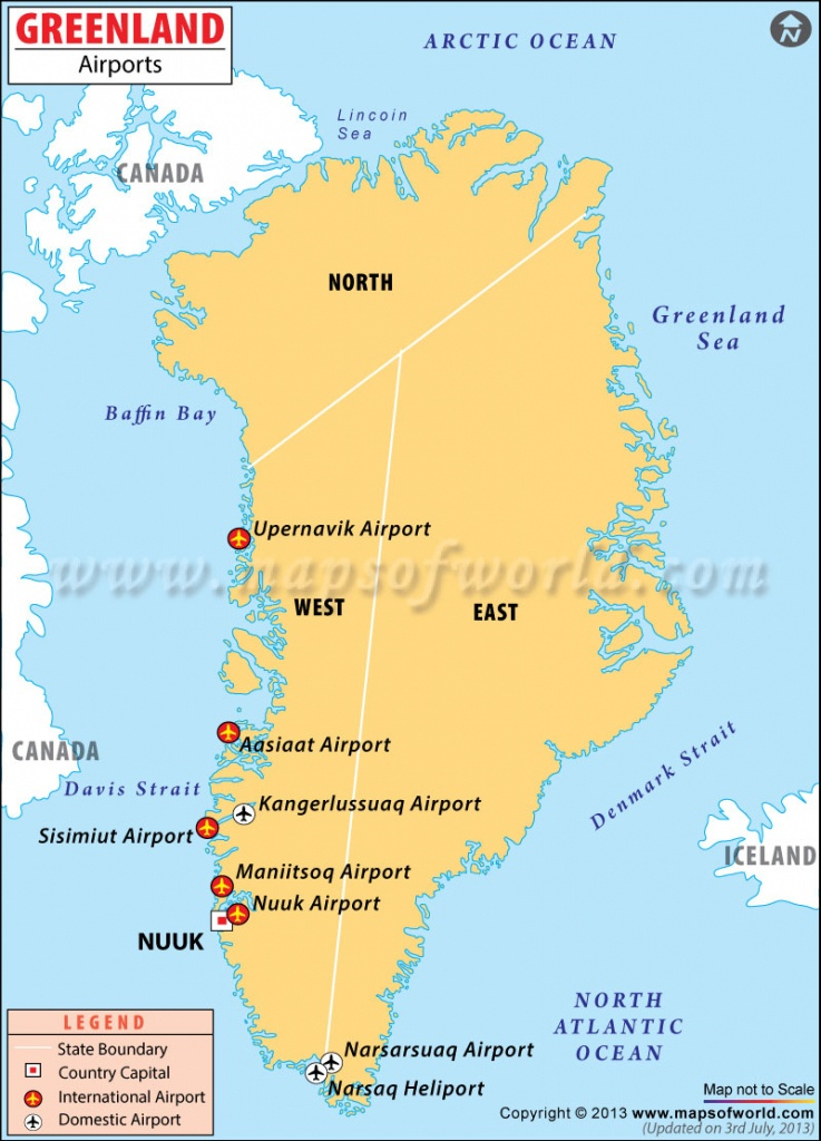 Airports In Greenland, Greenland Airports Map - Printable Map Of Greenland