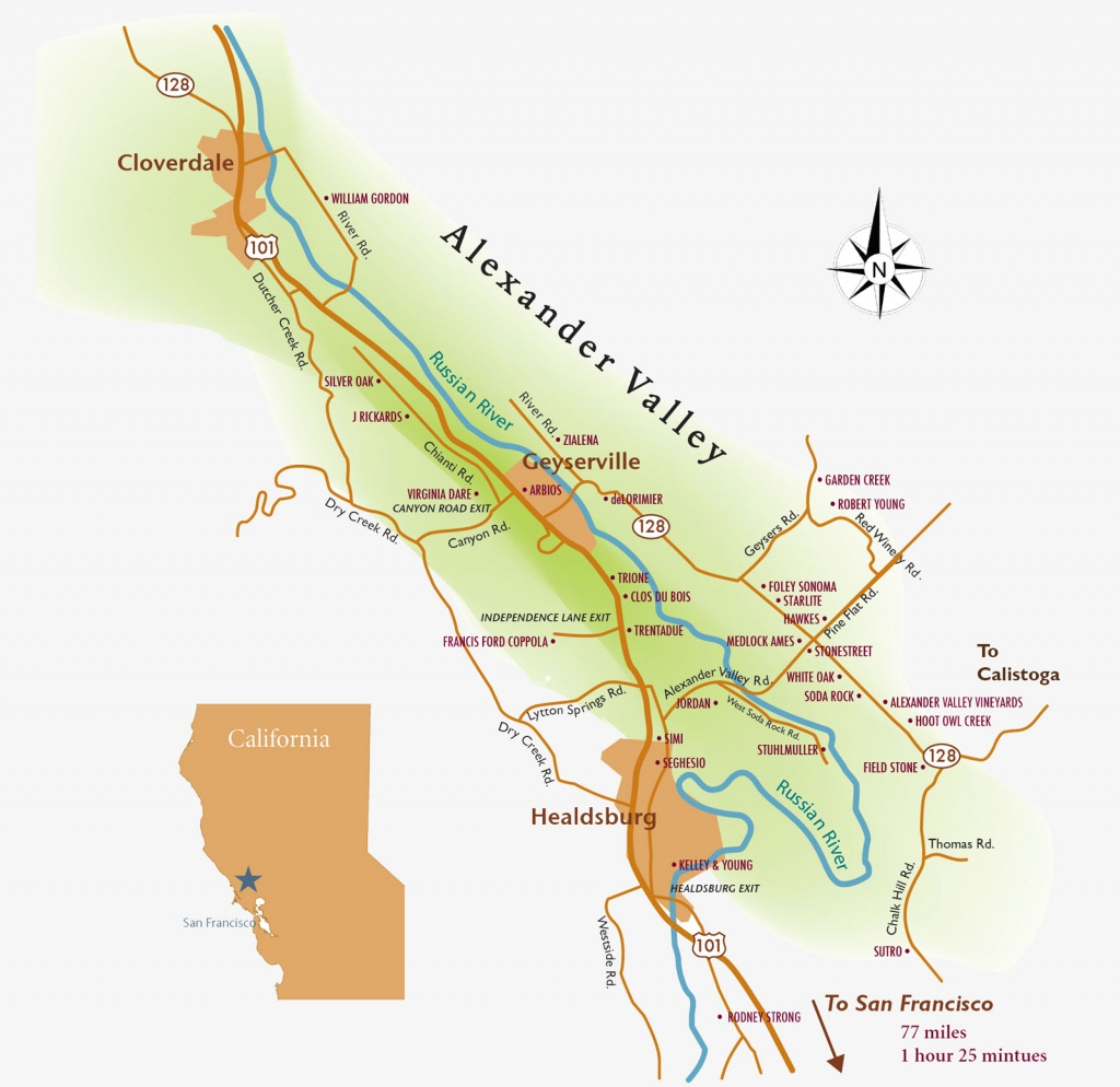 Alexander-Valley-Wine-Tasting-Map - Alexander Valley Winegrowers - Wine Tasting California Map