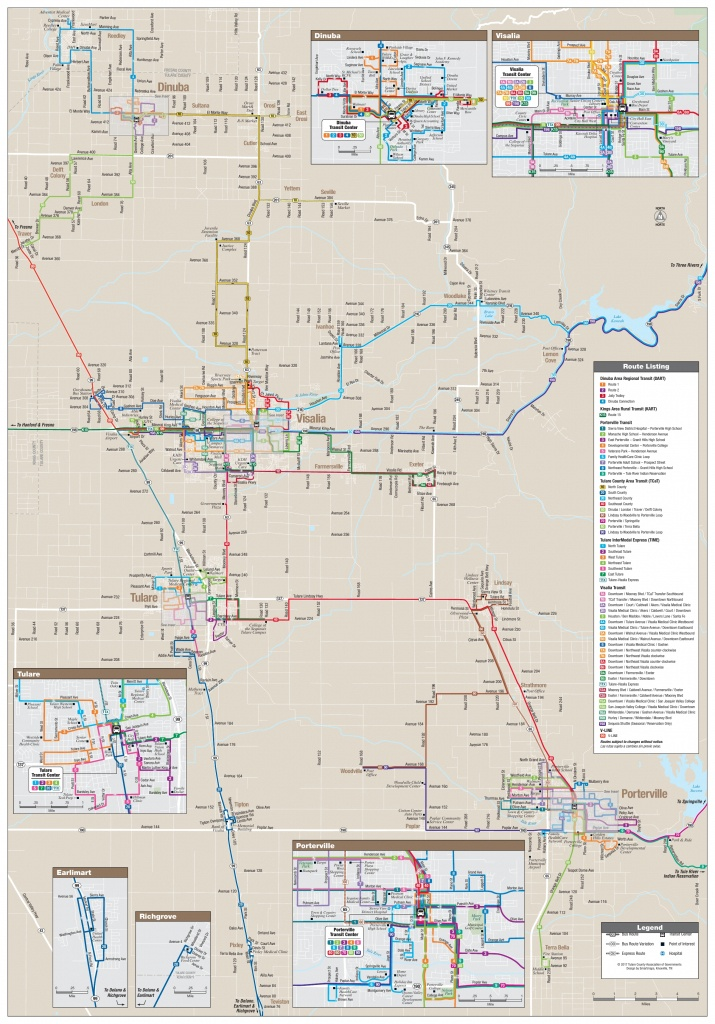 All Tulare County Bus Route Maps, Schedules, And Timetables | Tcag - Visalia California Map