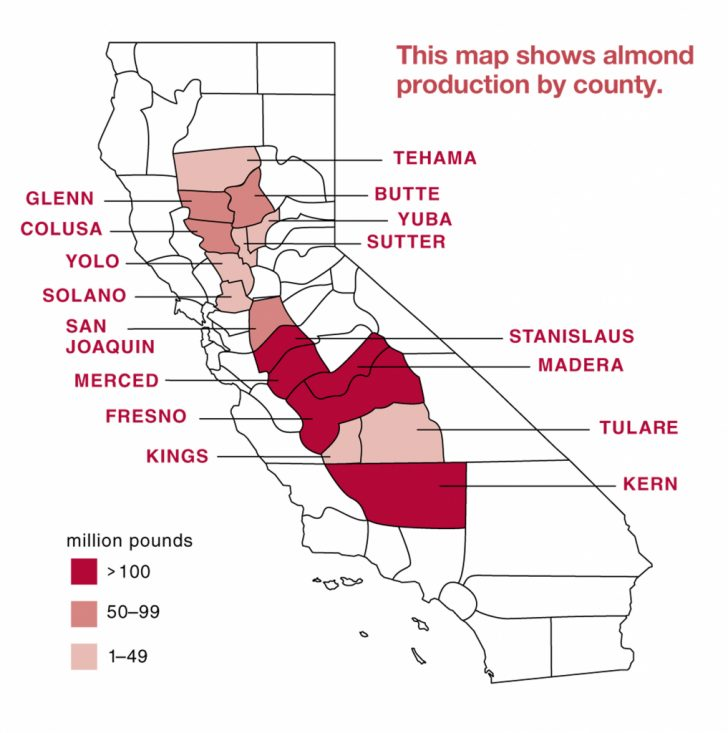 California Almond Production Map