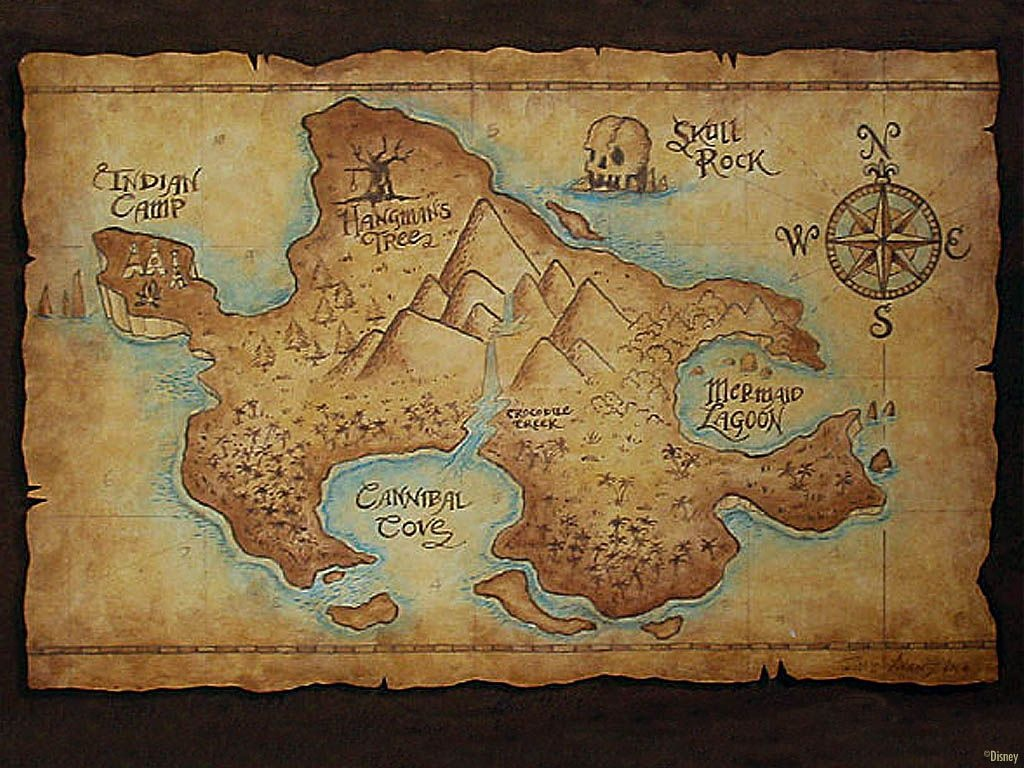 An Ancient-Looking Map Of Never-Neverland! I Love Old Maps - All Old - Printable Neverland Map