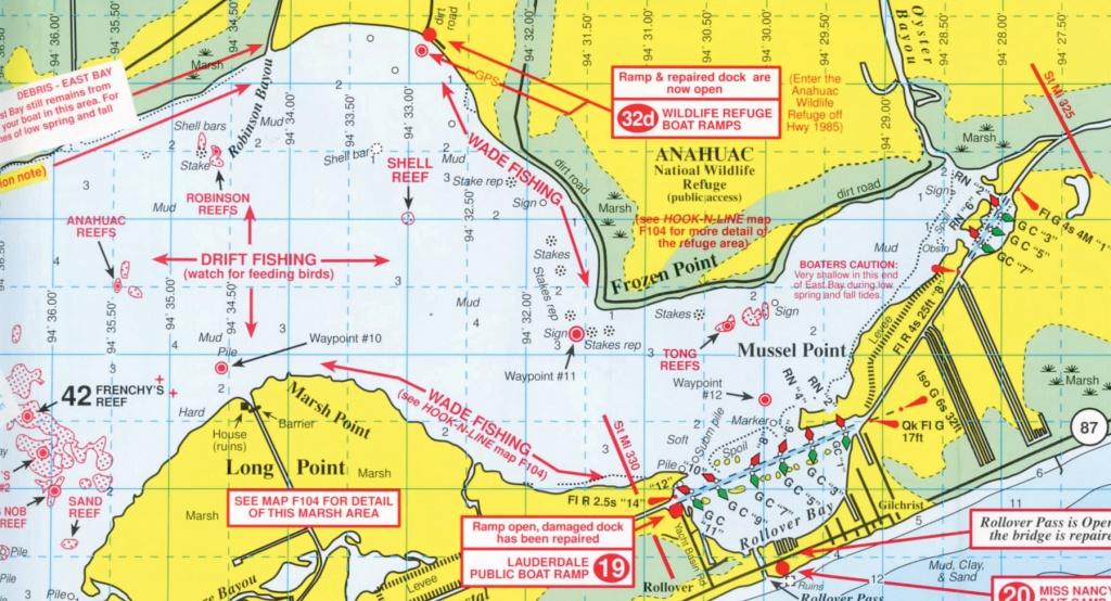Anahuac National Wildlife Refuge - Texas Gulf Coast Fishing Maps
