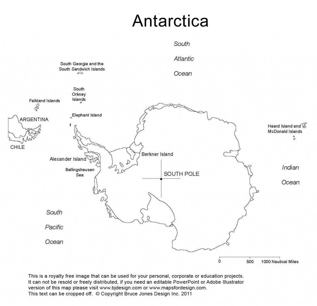Antarctica, South Pole, Blank Printable Map, Outline, World Regional - Antarctica Outline Map Printable