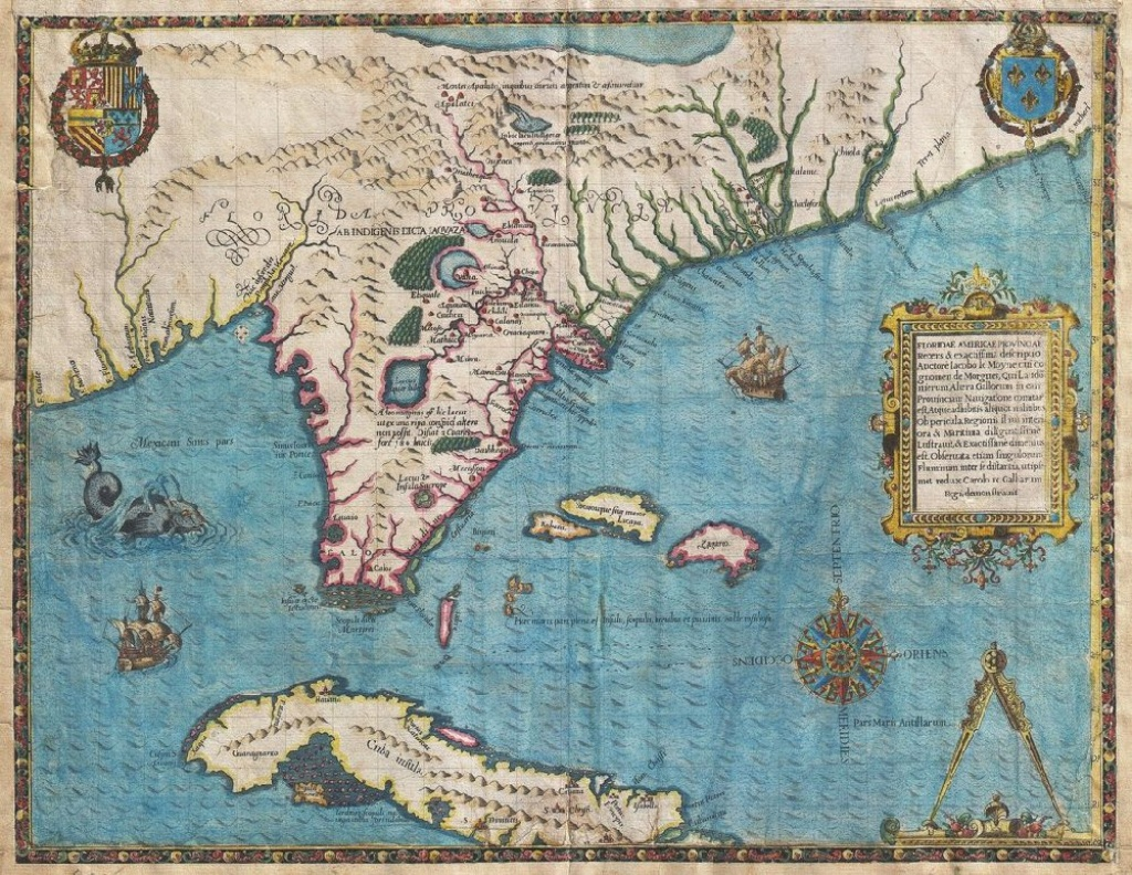 Antique Florida And Cuba Map Poster, Canvas, Poster Print - Florida Map Poster