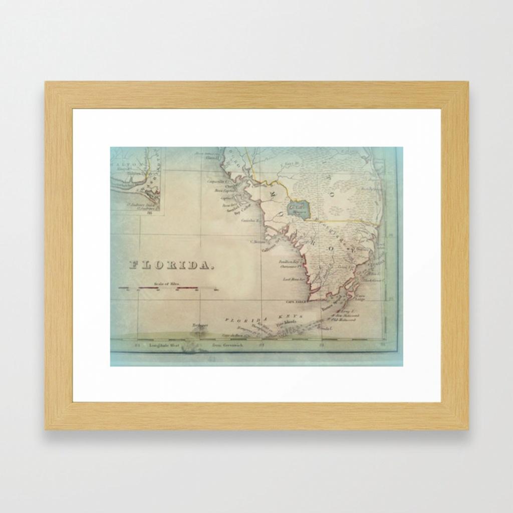 Antique Florida Keys Map Framed Art Printkarengrossman | Society6 - Framed Map Of Florida