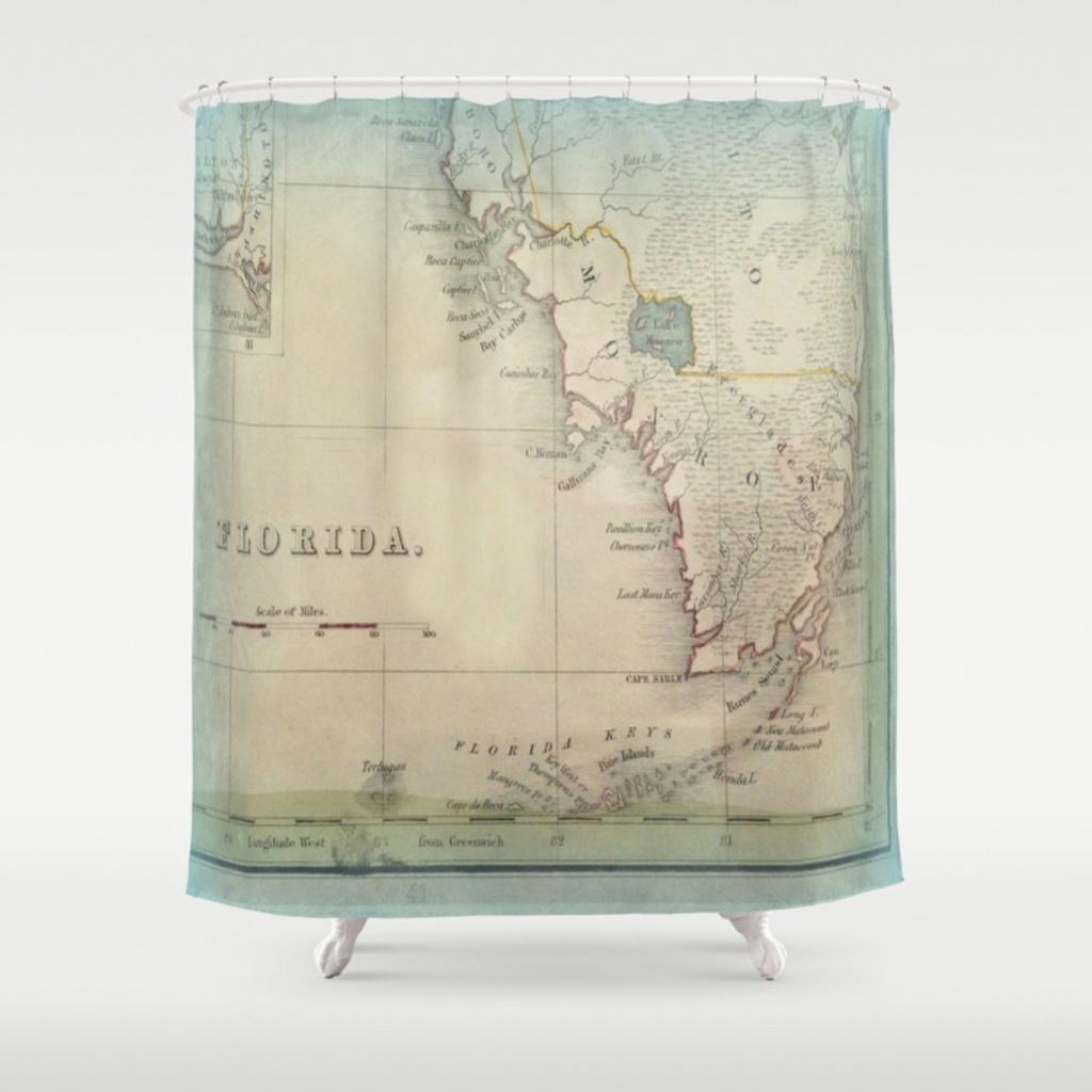 Antique Florida Keys Map Shower Curtainkarengrossman   Society6 - Florida Map Shower Curtain