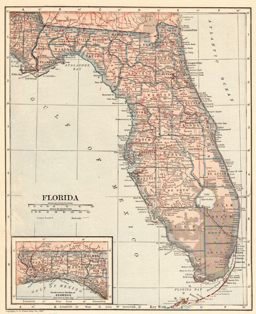 Antique Florida Map 1917 Vintage State Map Of Florida Gallery | Etsy - Antique Florida Map