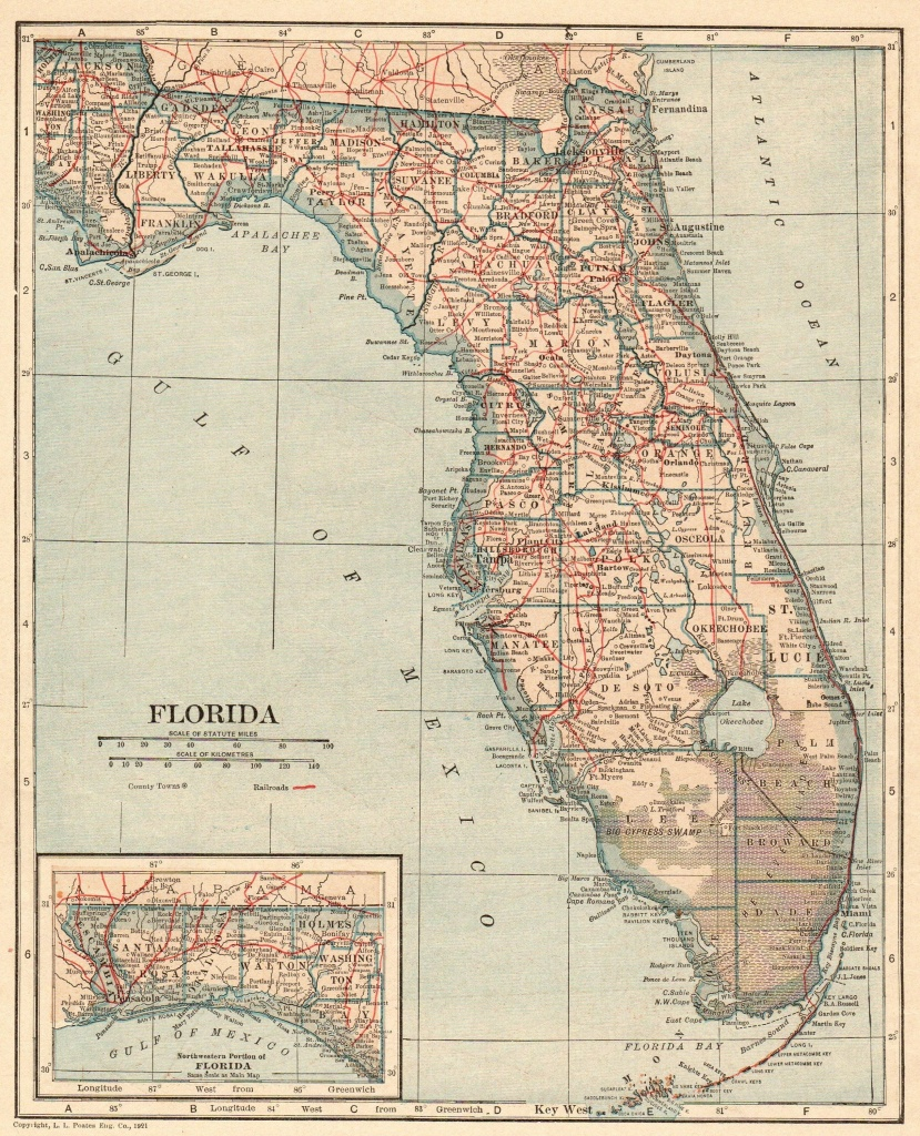 Antique Florida Map 1917 Vintage State Map Of Florida Gallery Wall - Map Of Florida Wall Art