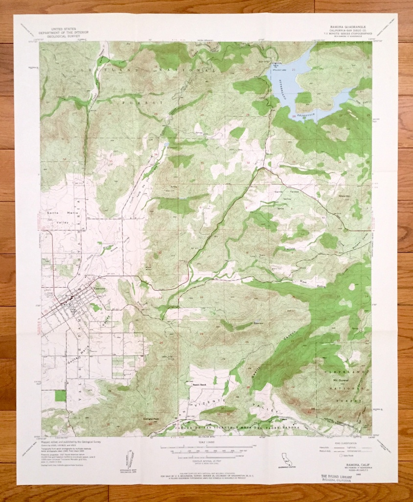 Antique Ramona California 1955 Us Geological Survey | Etsy - Ramona California Map