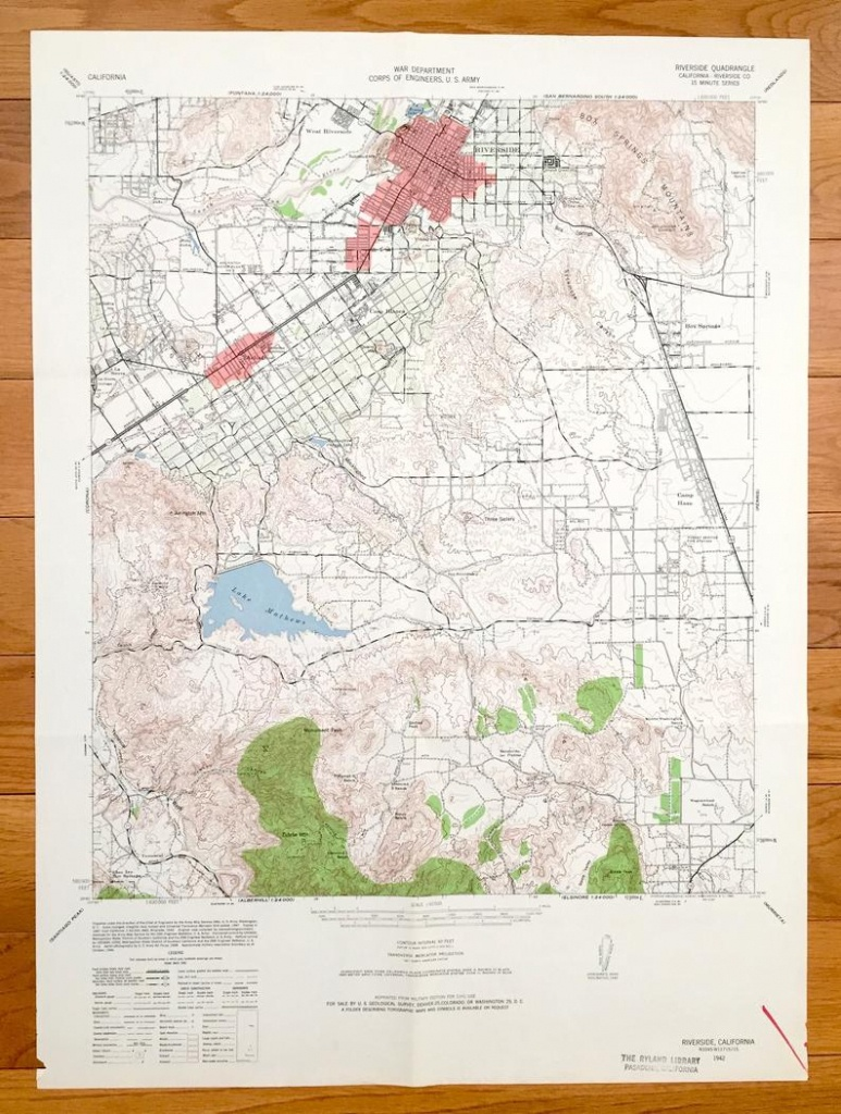Antique Riverside California 1942 Us Geological Survey | Etsy - Printable Map Of Riverside County