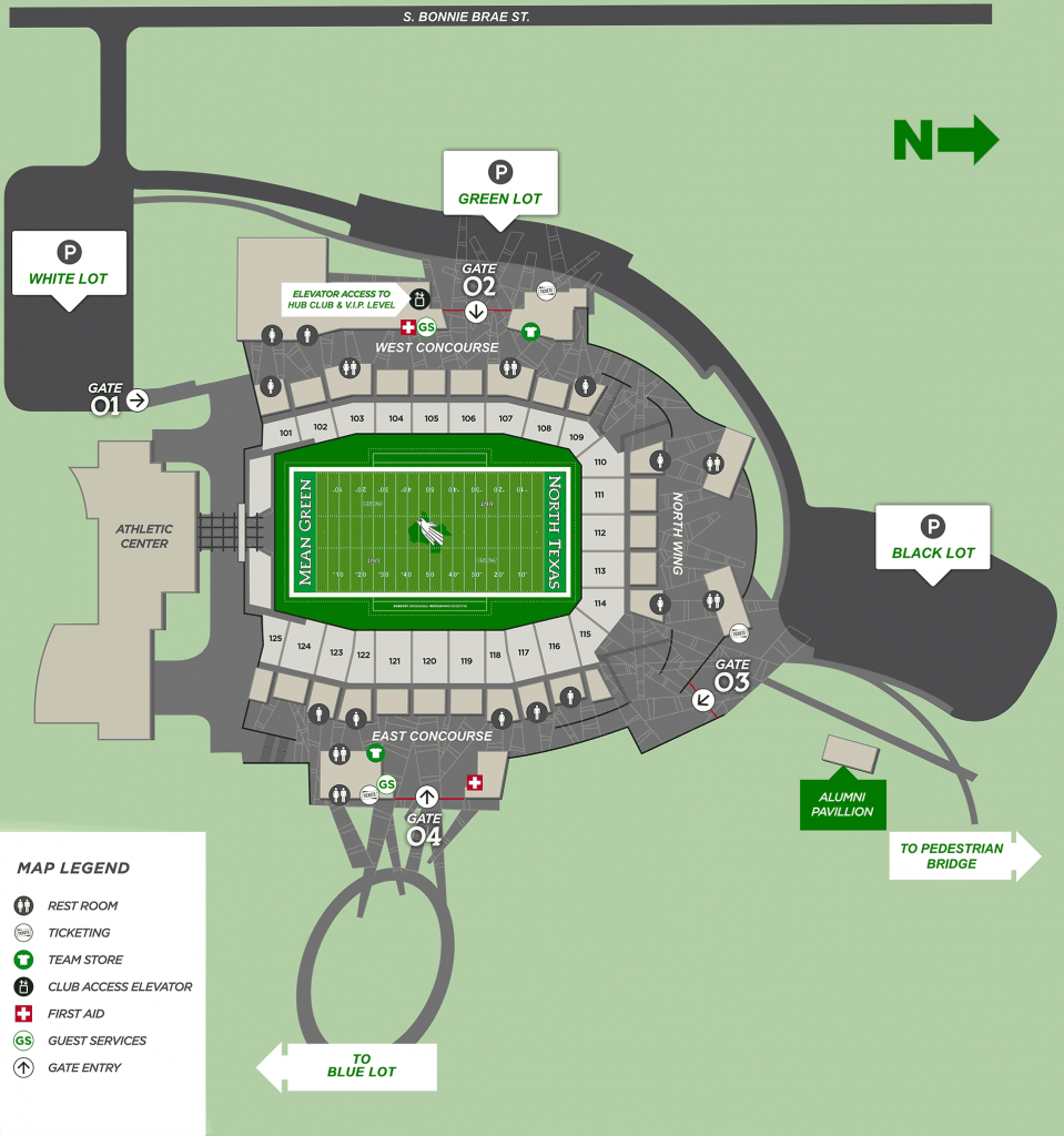 Apogee Stadium Map - University Of North Texas Athletics - University Of Texas Football Stadium Map
