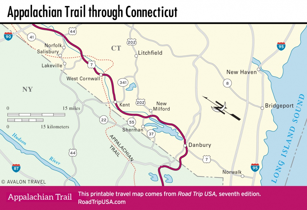 Appalachian Trail - Driving Route   Road Trip Usa - Printable Appalachian Trail Map