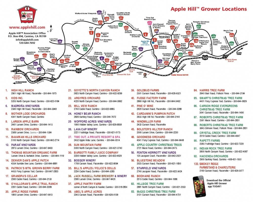 Apple Hill Lodgingnorth Canyon Inn - Apple Hill Printable Map
