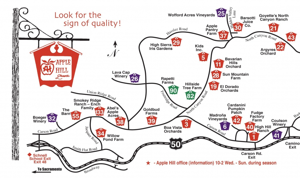 Apple Hill Tourist Map - Camino California • Mappery | Kids - Apple Hill Printable Map