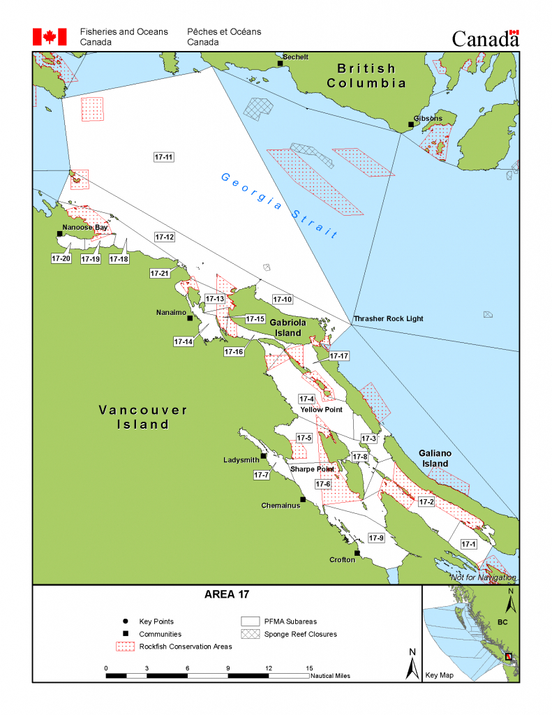 Area 17 (Nanaimo) - Bc Tidal Waters Sport Fishing Guide - Southern California Fishing Spots Map