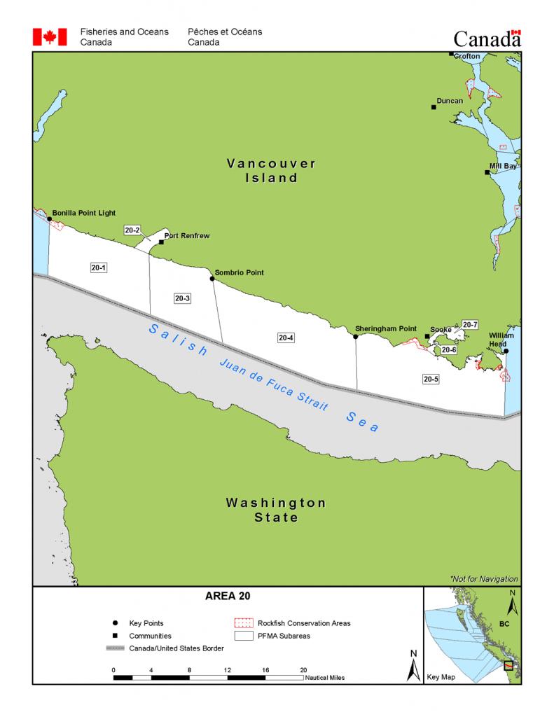 Area 20 (Sooke, Port Renfrew) - Bc Tidal Waters Sport Fishing Guide - California Fishing Regulations Map