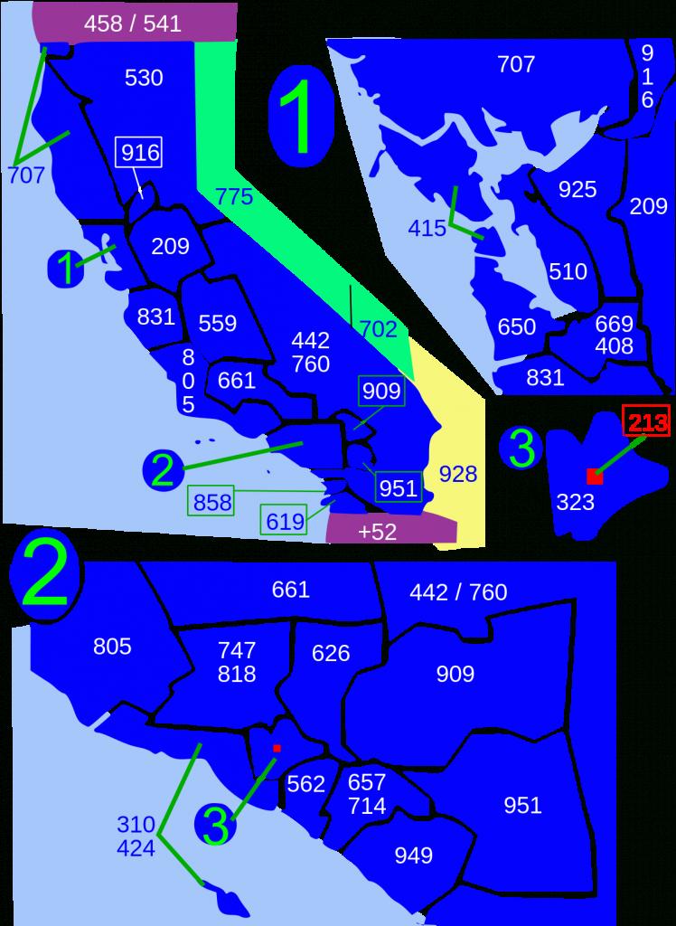 Area Codes 213 And 323 - Wikipedia - Vernon California Map