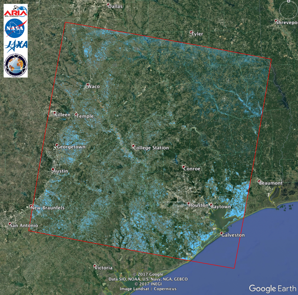 Aria Alos-2 Flood Proxy Map Of Texas Flooding From Harvey | Nasa - Map Of Flooded Areas In Texas
