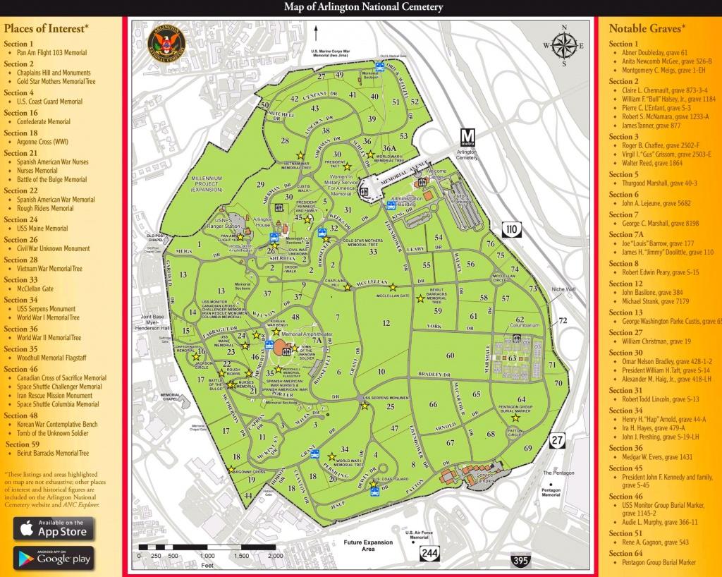 Arlington National Cemetery Map - Arlington Cemetery Printable Map