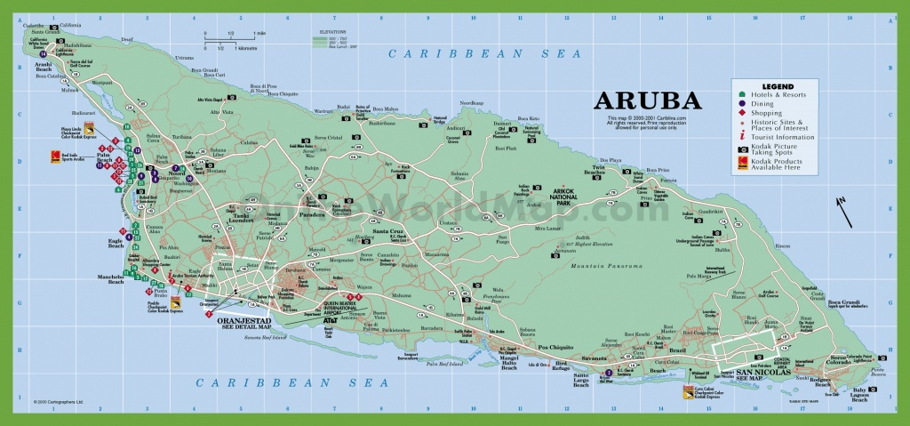 Aruba Road Map - Printable Map Of Aruba