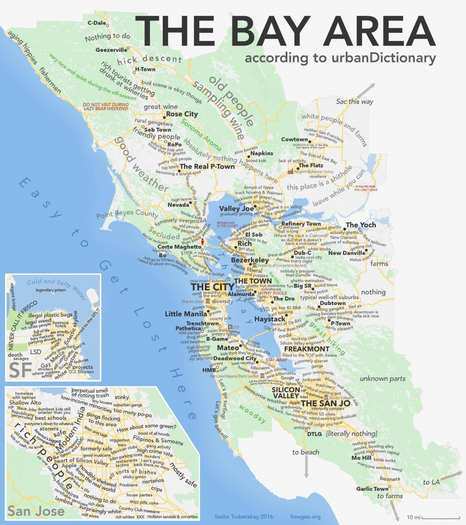 As Promised, The Bay Area According To Urban Dictionary [Oc - San Francisco Bay Area Map California