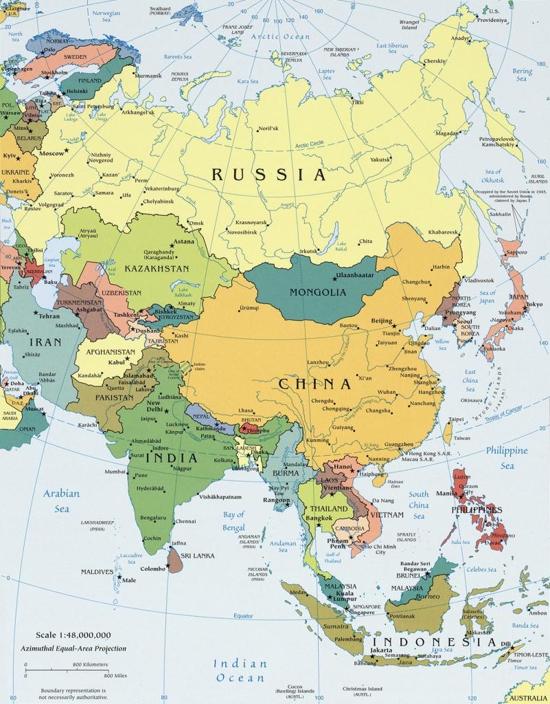 Asia - Political Map - Asia Political Map Printable