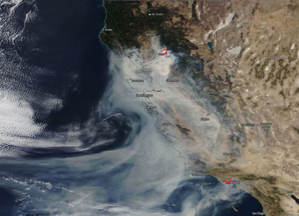 Astounding Nasa Imagery Shows Scope Of California Wildfires From - California Wildfire Satellite Map