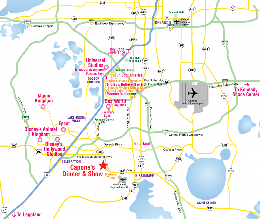 Attractions Map : Orlando Area Theme Park Map : Alcapones - Map Of Florida Showing Disney World