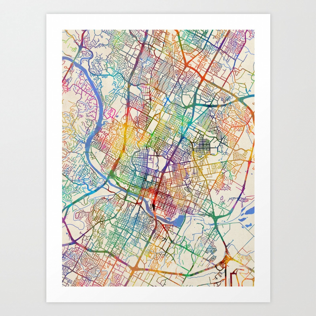 Austin Texas City Map Art Printartpause | Society6 - Austin Texas City Map
