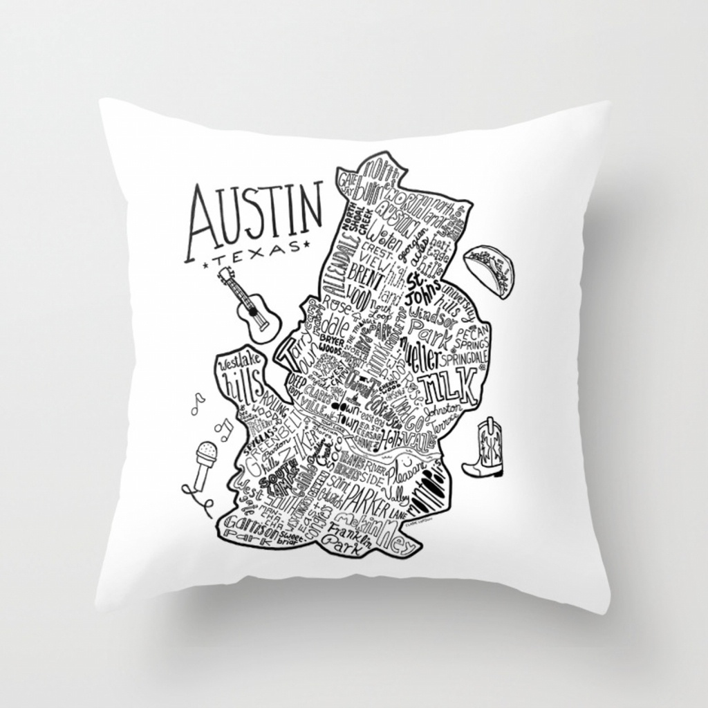 Austin Texas Illustrated Map Throw Pillowclairelordon | Society6 - Texas Map Pillow