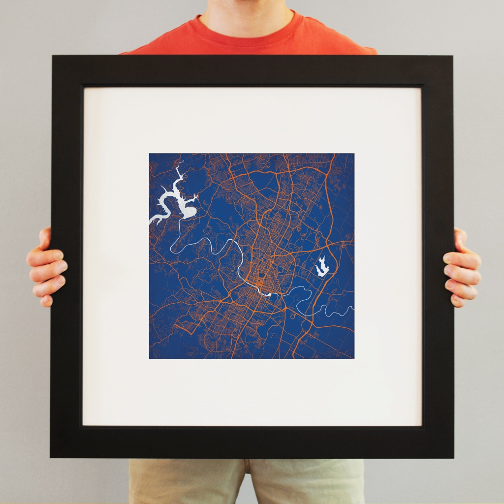 Austin, Texas Map Art - City Prints - Texas Map Framed Art