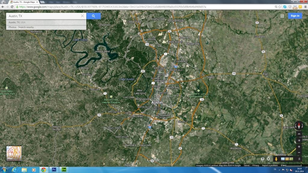 Austin, Texas Map - Google Maps Satellite Texas