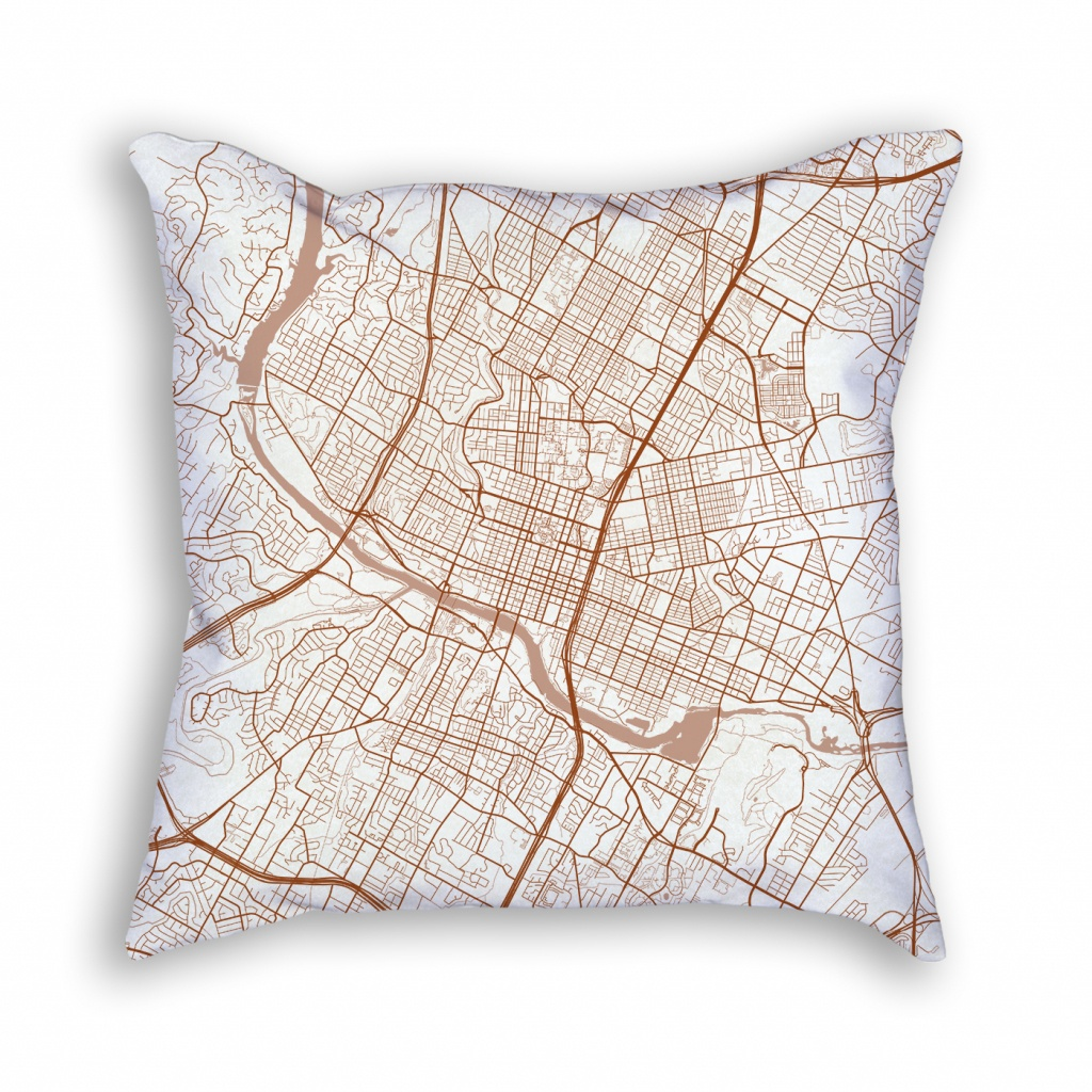 Austin Texas Throw Pillow – City Map Decor - Texas Map Pillow