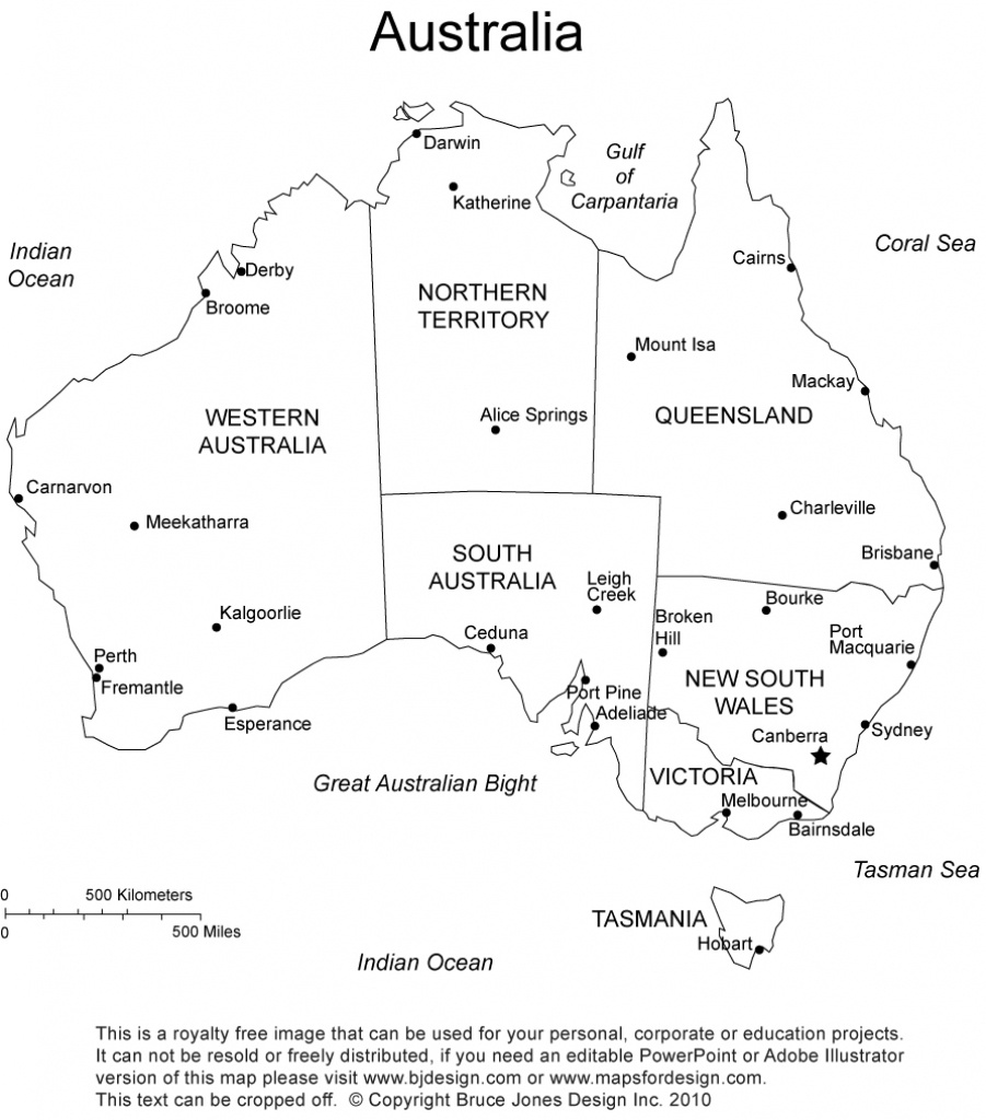 Australia Printable, Blank Maps, Outline Maps • Royalty Free - Free Printable Map Of Australia