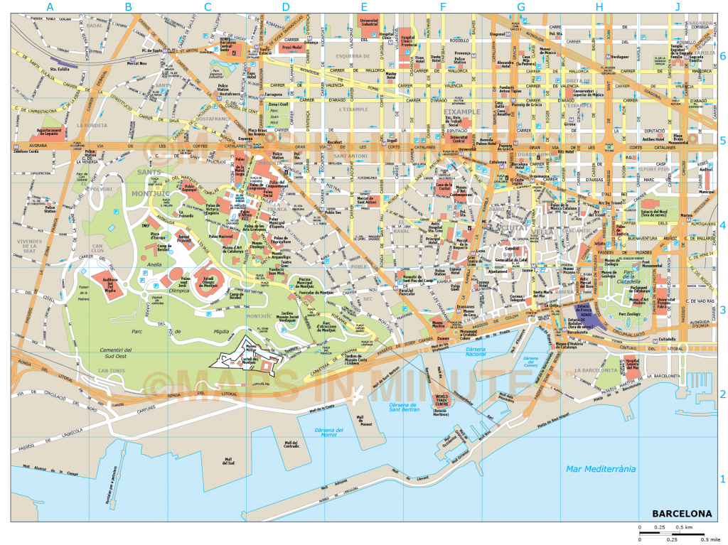 Barcelona City Map In Illustrator Cs Or Pdf Format - City Map Of Barcelona Printable
