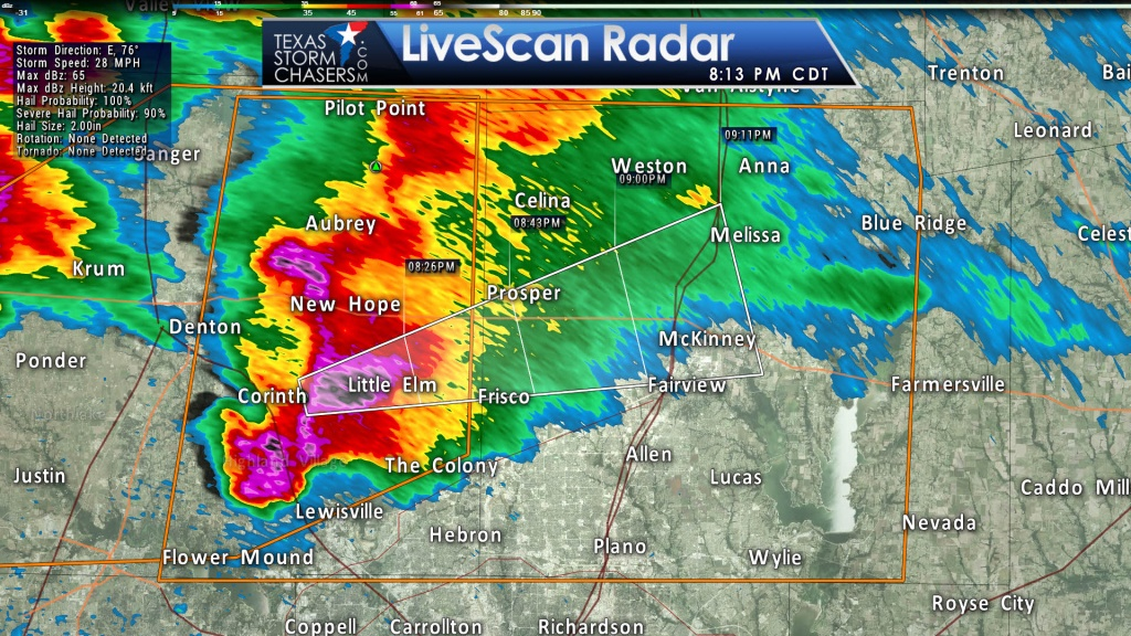 Baseball Size Hail Moving Into Collin County! • Texas Storm Chasers - Texas Hail Storm Map