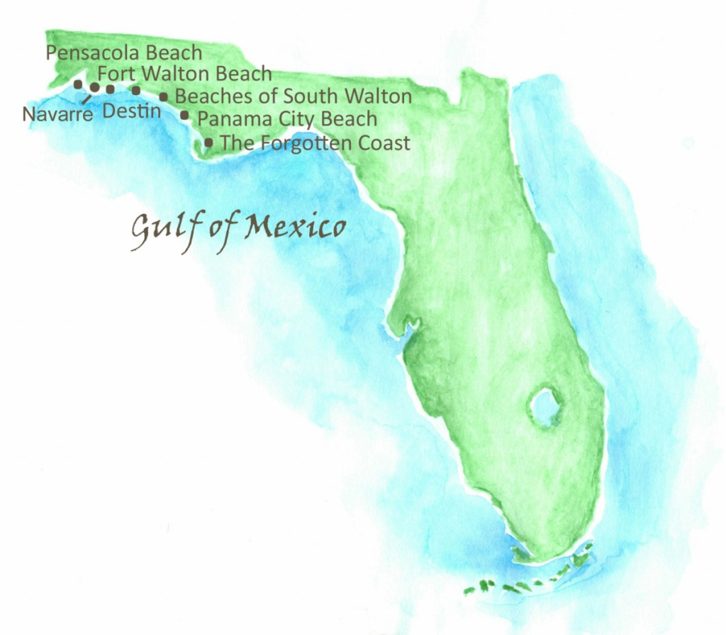 Beaches Of Northwest Florida Map | Southern Vacation Rentals - Navarre Florida Map