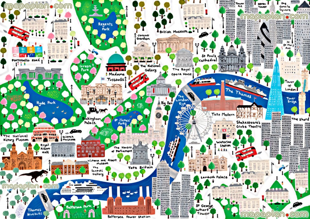 Beautiful Colorful London Children Englishs London Top Tourist - Printable Children's Map Of London