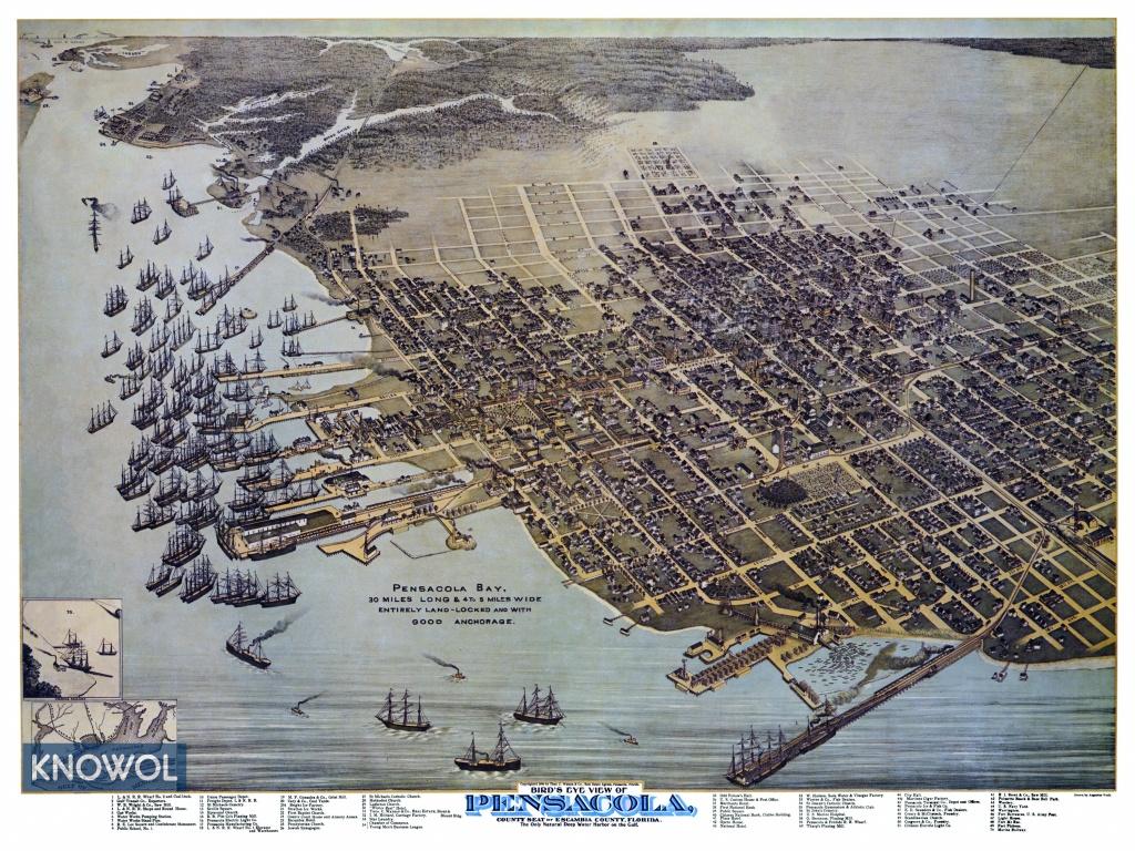 Beautifully Restored Map Of Pensacola, Florida From 1896 - Knowol - Old Maps Of Pensacola Florida